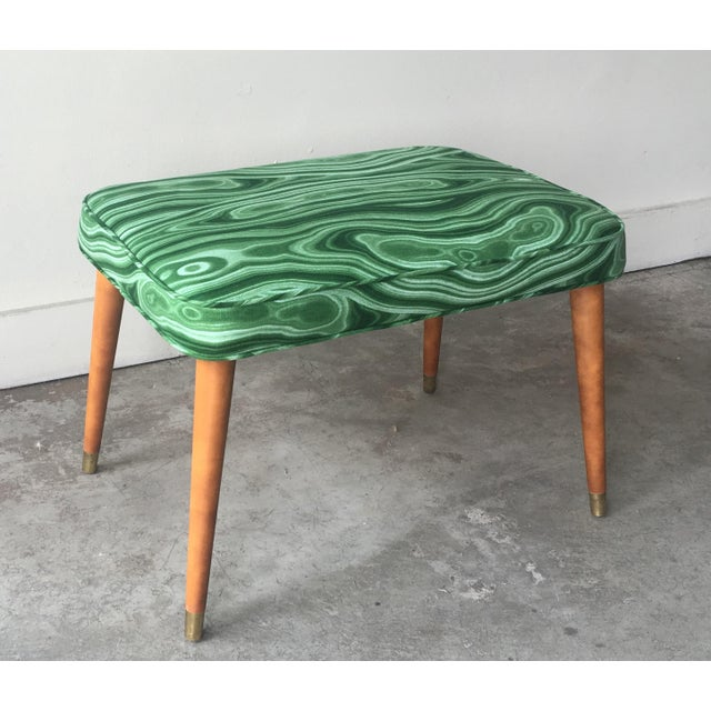Green Mid-Century Modern Malachite Green Upholstered Stool For Sale - Image 8 of 9