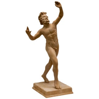 20th Century Italian Terra Cotta Statue of Dancing Satyr For Sale