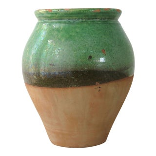 Turkish Green & Brown Glaze Terracotta Clay Jar For Sale