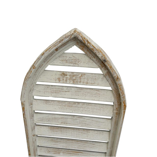 Pair of rustic farmhouse/cottage shabby distressed cathedral form window shutters. White distressed with wood peeking...