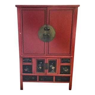 Antique Chinese Red and Black Tall Armoire For Sale