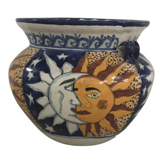 Vintage Sun and Moon Face Talavera Planter For Sale