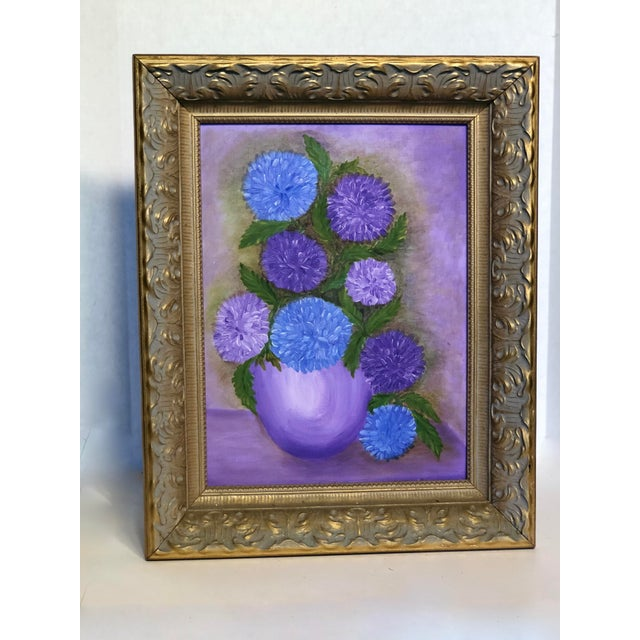 1960s Mid-Century Purple Still Life Painting For Sale - Image 5 of 5