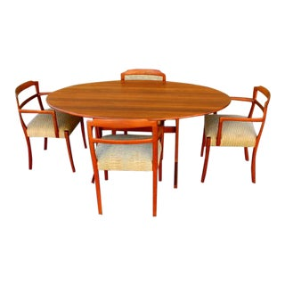 1960s Vintage Danish Drop-Leaf Dining Set- 5 Pieces For Sale