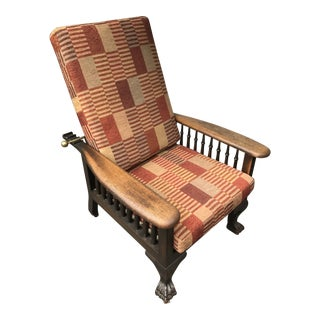 1950s Americana Reupholstered Recliner Chair For Sale