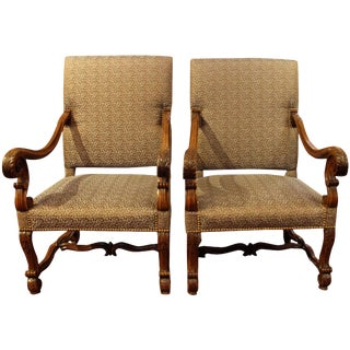 Louis XIII Style Fauteuils - a Pair For Sale