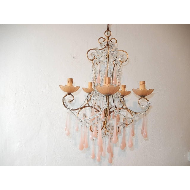 French Crystal Pink Bubble Gum Opaline Drops Bobeches and Beads Chandelier For Sale - Image 10 of 10