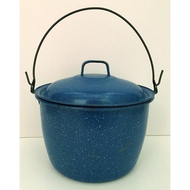 1950s Vintage Blue Enamelware Pot For Sale - Image 4 of 4