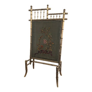 Gold Bamboo Fire Screen For Sale