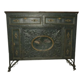 French 19th Century Hide a Bed Folding Rolling Painted Tin Front as a Buffet For Sale