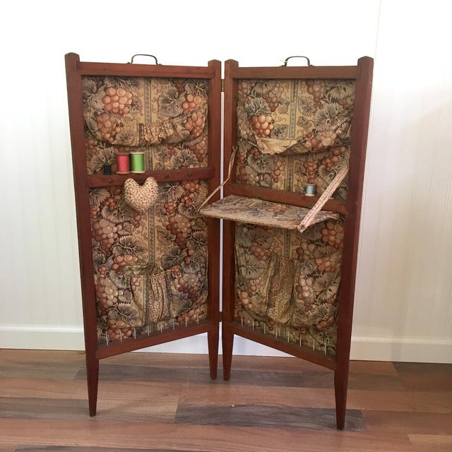 Fabric Antique Folding Sewing Cabinet For Sale - Image 7 of 7