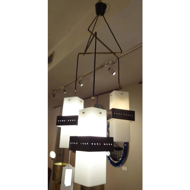 Gold Stilnovo Mobile Shaped Mid-Century Chandelier, Italy circa 1960 For Sale - Image 8 of 10