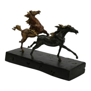 Two Racing Horses Stallion Bronze Sculpture on Natural Wood For Sale