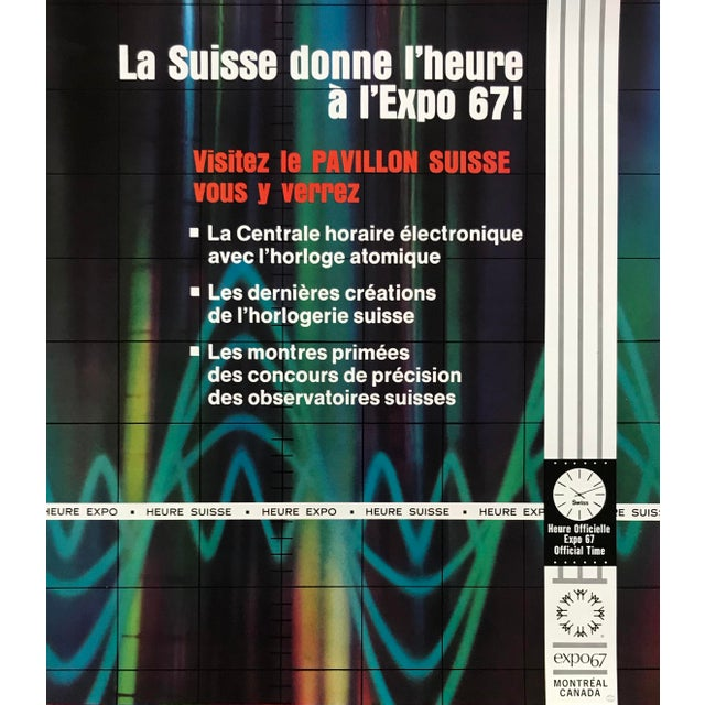 Industrial 1967 Swiss Pavillion Poster, Montreal World's Fair, Atomic Time For Sale - Image 3 of 6