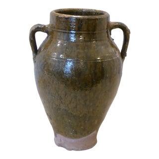 Vintage Mediterranean Green Glazed Terra Cotta Jar For Sale