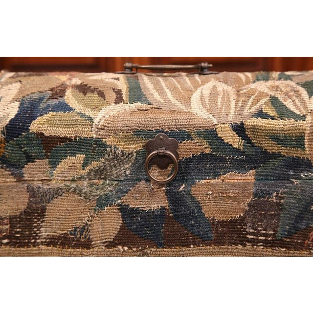 Traditional Bombe Wood Trunk Covered With 18th Century Aubusson Tapestry and Signed J. Lamy For Sale - Image 3 of 10
