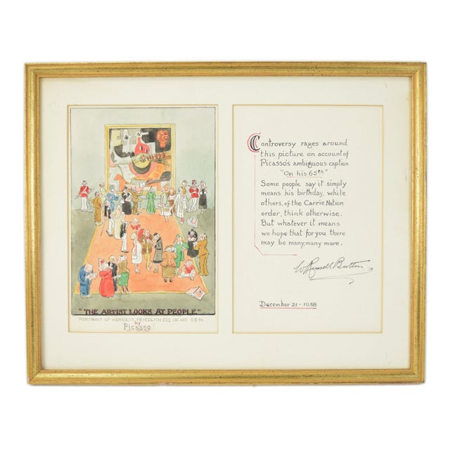 """1955 William Russell Button """"Picasso"""" Modern Art Exhibition Watercolor Painting For Sale - Image 10 of 10"""