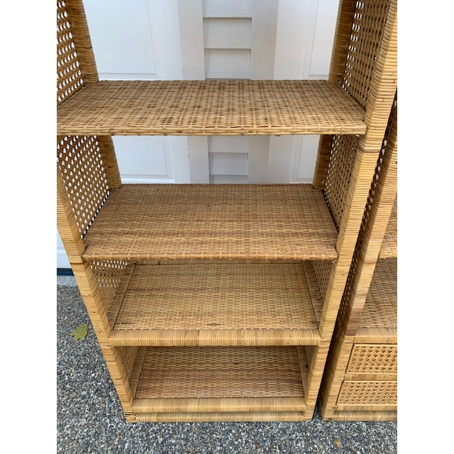 1970's Bielecky Style Rattan and Brass Bookshelves-Set of 3 For Sale - Image 9 of 13