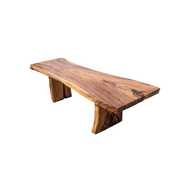Primitive Live Edge Wood Table With Wood Base For Sale