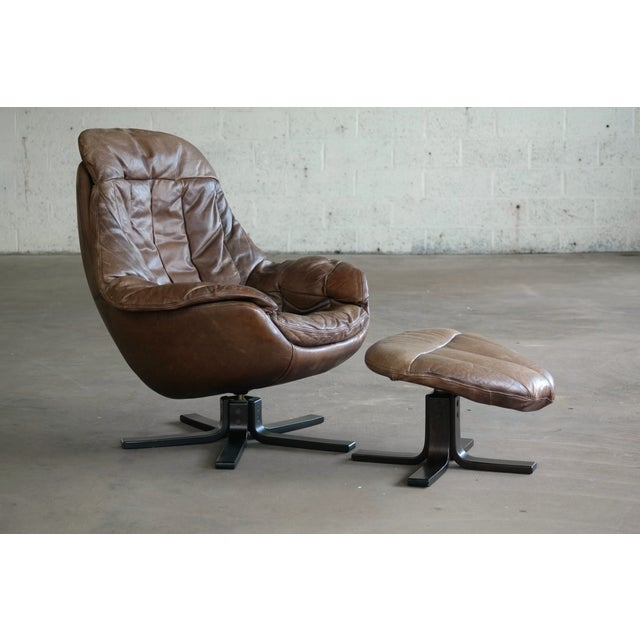 Danish Mid-Century Brown Leather Egg Chair with Ottoman by H. W. Klein For Sale - Image 13 of 13