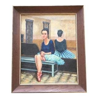 Vintage 1970's Signed Ballerina Painting For Sale