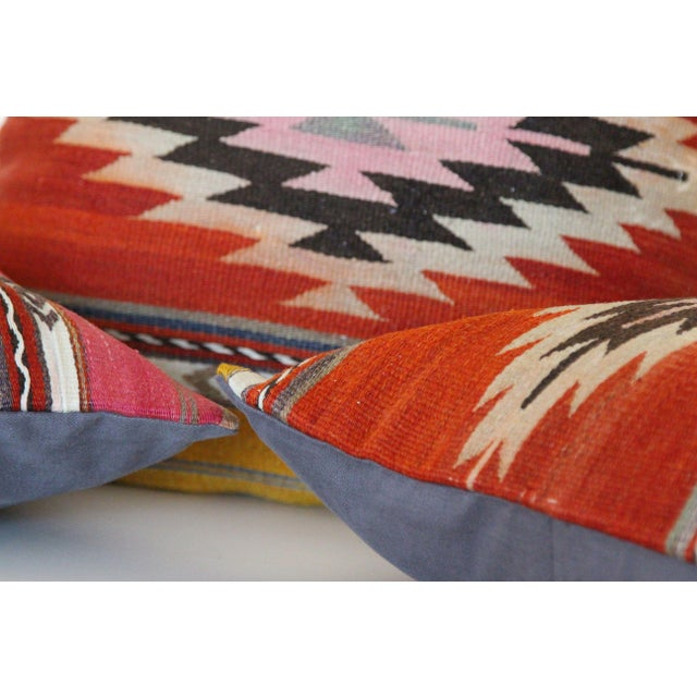 18'' Antique Turkish Kilim Rug Pillows - Set of 3 For Sale - Image 5 of 6