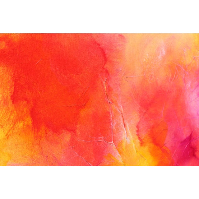 2010s Colorful Bright Expressive Modern Abstract Original Wall Art Painting Red Pink Yellow Canvas For Sale - Image 5 of 5