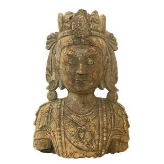 "Museum Quality Old Stone Crowned Kuan Yin Bust 20"" H For Sale"