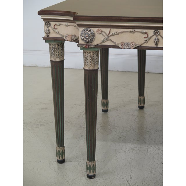 EJ Victor 1990s Regency Ej Victor Paint Decorated Dining Room Table For Sale - Image 4 of 13