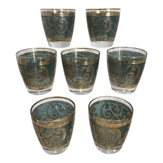 Culver Mid-Century Teal Green & Gold Toledo Low Ball Glasses - Set of 7