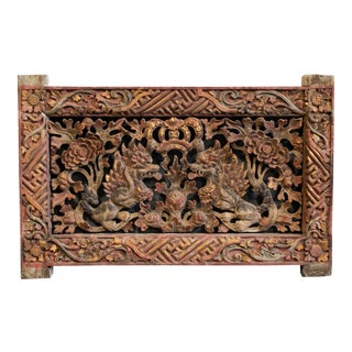 Carved and Painted Garuda Transom For Sale