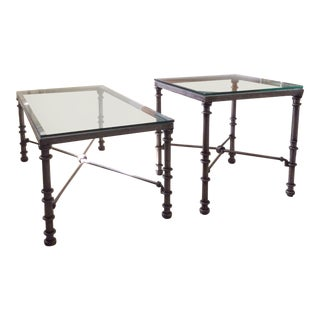 Wrought Iron & Glass Top Coffee & Side Table - 2 Piece Set For Sale