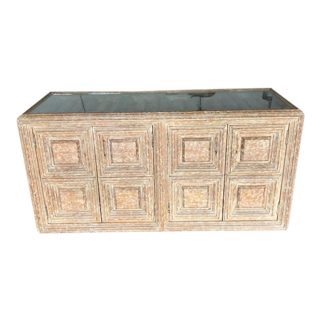 Kreiss Distressed Wood Glass Top Credenza For Sale