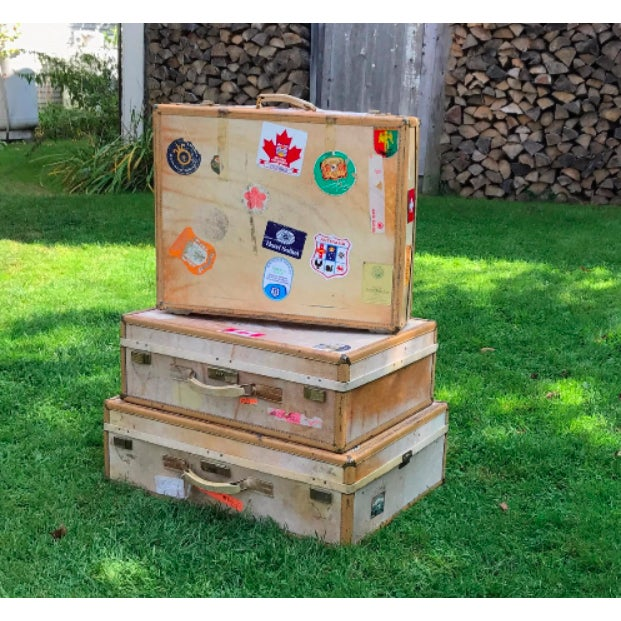 Canvas 3 Travel Suitcases, Vintage Stickers, Trio of Stacking Cases For Sale - Image 7 of 7