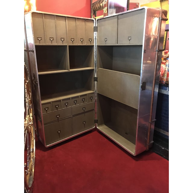 Art Deco Metal Sheet Restored Office Trunk For Sale - Image 3 of 11