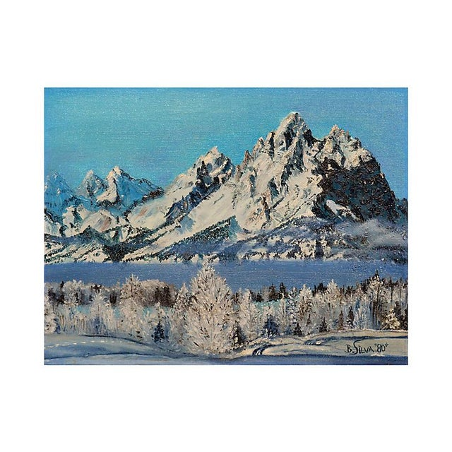 "Oil painting of snow-capped mountains by B. Silva (American, 20th century). Signed ""B. Silva"" and dated '80 lower right...."