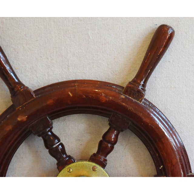 1950s Nautical Wood & Brass Ship's Wheel - Image 4 of 9