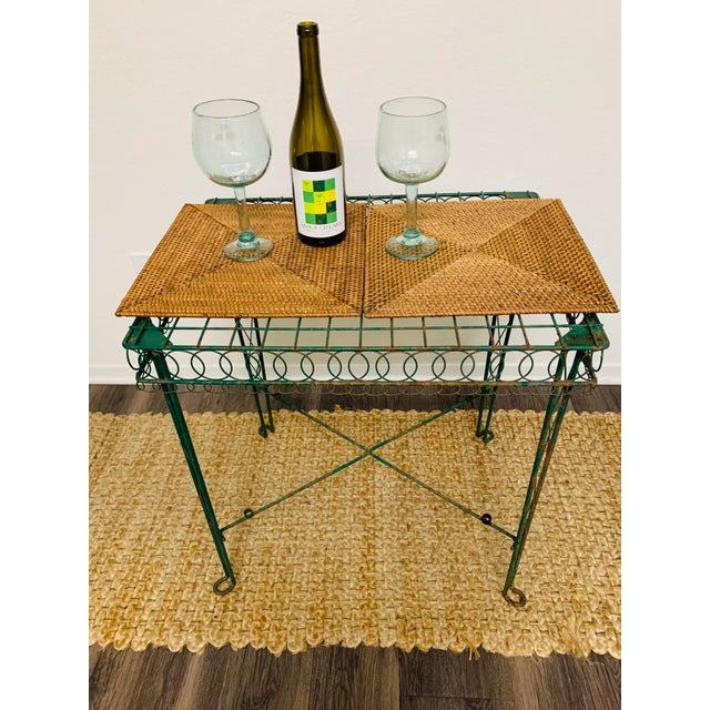Victorian Iron Scroll Garden Patio Table With Tray Plant Stand Bar Cart For Sale - Image 12 of 13