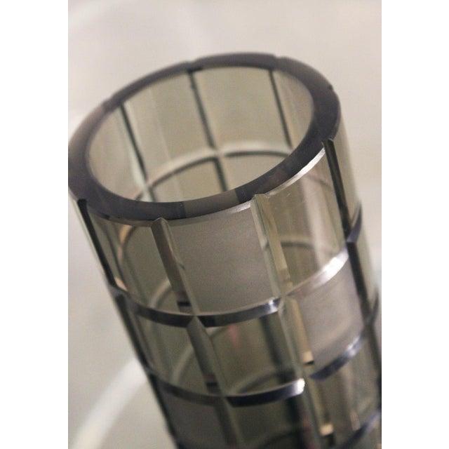 Smoke Grey Glass Vase, Orrefor Legend Square Style - Image 4 of 10