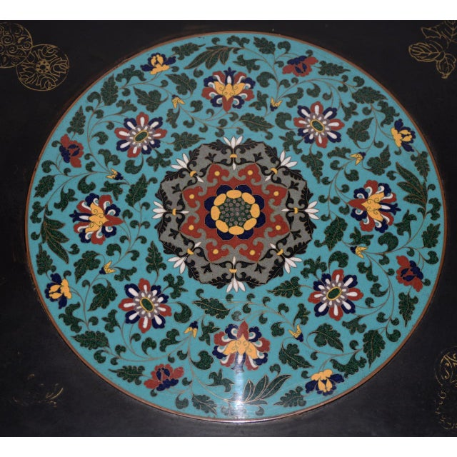 1940s Vintage Black Lacquer & Turquoise Blue Cloisonne Chinese Coffee Table For Sale - Image 4 of 8
