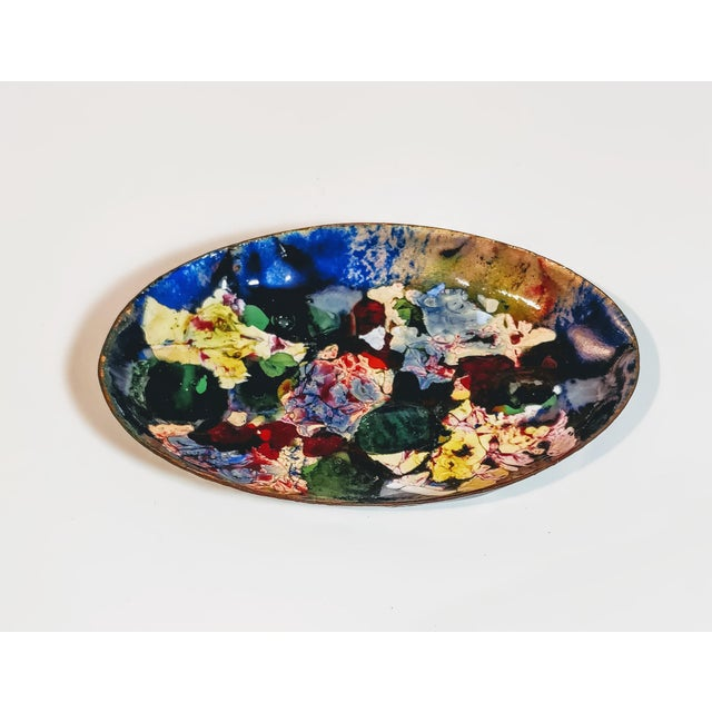 Abstract Vintage Mid Century Abstract Art Decorative Enamel Tray Dish For Sale - Image 3 of 8