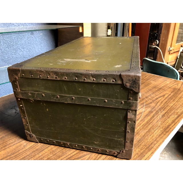 Vintage P & S Co. Military Footlocker With Contrasting Metal Hardware and Leather Handle For Sale In Sacramento - Image 6 of 12
