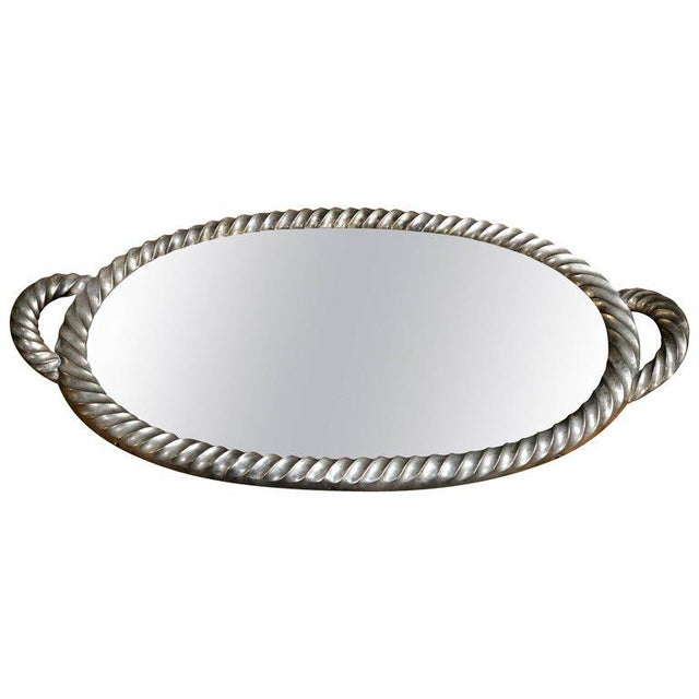 Italian Tray in Silver Leaf With Mirrored Glass Top, 1940s For Sale - Image 9 of 9