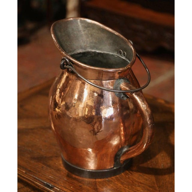 19th Century French Polished Copper and Iron Decorative Coal Bucket For Sale - Image 4 of 10