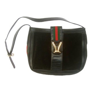 1970s Gucci Italy Black Suede Boot Clasp Shoulder Bag For Sale