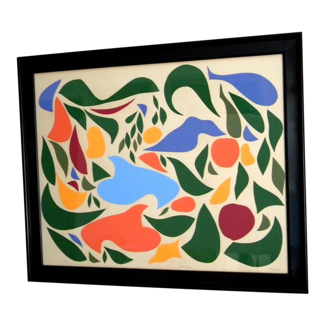 1970s Vintage Original Irish Abstract Signed Linocut Print For Sale