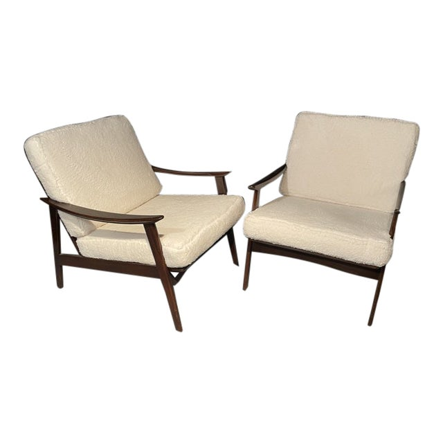 Mid-Century Modern Lounge Chairs/ Style of Ib Kofod-Larsen, Plush Sherpa - a Pair For Sale