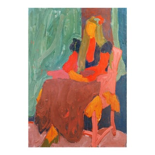 'Woman Seated', by Victor DI Gesu, California Post-Impressionist, Louvre, Académie Chaumière, Lacma, Circa 1955 For Sale