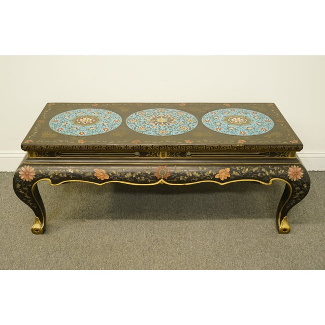 Chinoiserie Late 20th Century High End Asian Chinoiserie Black Accent Coffee Table For Sale - Image 3 of 9