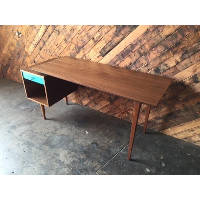 Mid-Century Style Walnut Desk - Image 6 of 8